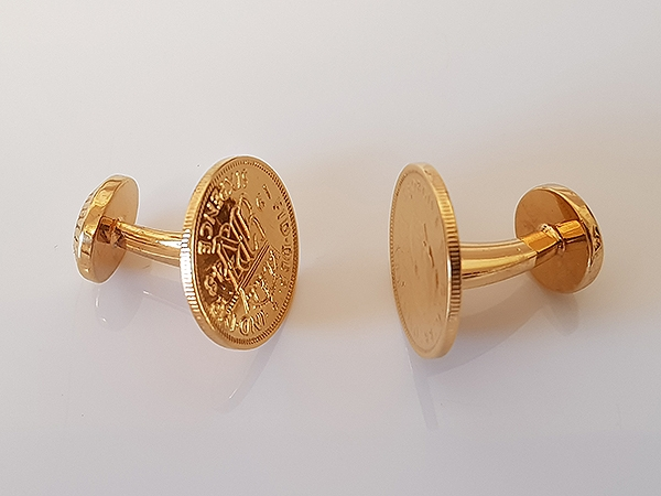 24ct Gold Sixpence Cufflinks
